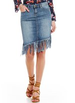 William Rast Woven Stretch Denim Asymmetric-Hem Fringe Skirt