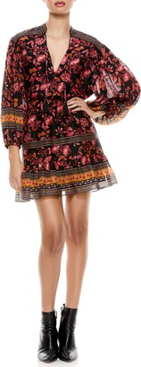 Alice + Olivia Sedona Floral Long Sleeve Mandarin Collar Dress