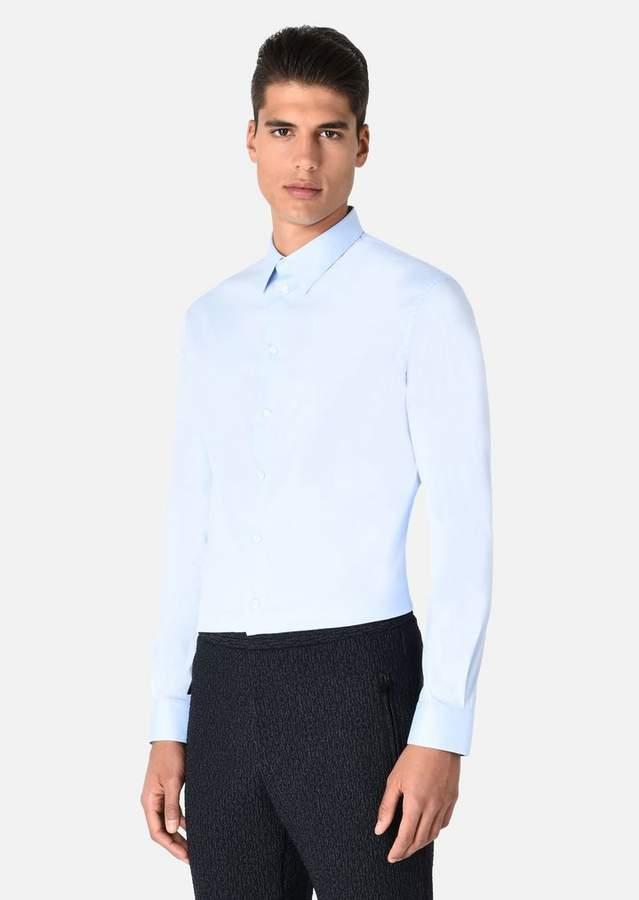 Emporio Armani Stretch Cotton Shirt With Italian Collar