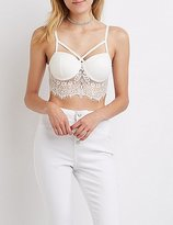 Charlotte Russe Caged Lace Bustier Crop Top