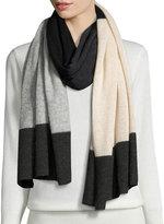 Neiman Marcus Cashmere Colorblock Scarf, Black/Gray/Oatmeal