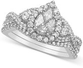 Macy's Diamond Pear Cluster Engagement Ring (1-1/3 ct. t.w.) in 14k White Gold