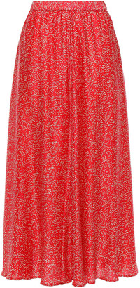 By Ti Mo Gathered Printed Cady Midi Skirt