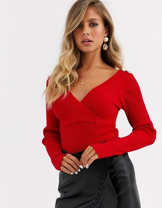 Morgan long sleeve wrap front slim rib knitted top with button shoulder detail in red
