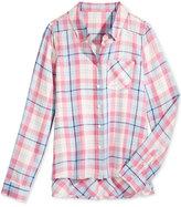 Tinsey Plaid High-Low Shirt, Big Girls (7-16)