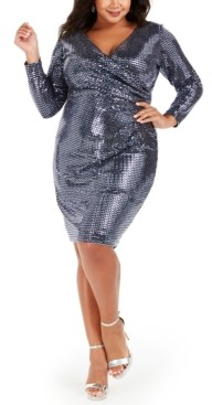 Betsy & Adam Plus Size Sequin Wrap Dress