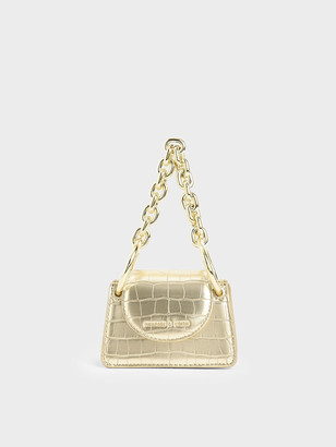 Charles & Keith Croc-Effect Chunky Chain Handle Mini Bag
