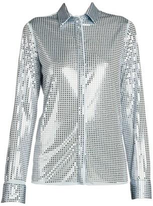 Bottega Veneta Mirror Crystal Embellished Jersey Blouse