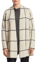 Eileen Fisher, Plus Size Checkered Open Front Cardigan