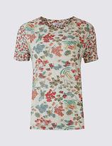 Per Una Printed Round Neck Short Sleeve T-Shirt