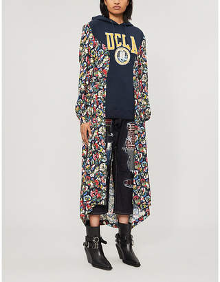 Junya Watanabe Floral-pattern hybrid hooded cotton-jersey and woven dress