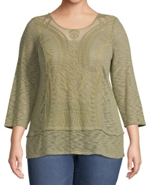 John Paul Richard Plus Size Lace-Overlay Top
