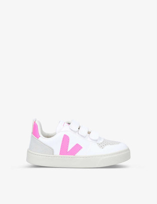 Veja V-10 logo-applique low-top cotton trainers 6-7 years