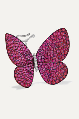 G BY GLENN SPIRO Papillon Titanium And 18-karat White Gold, Ruby And Diamond Ring - Red