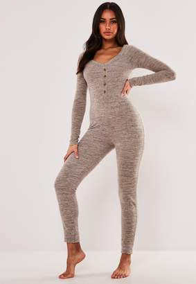 Missguided Stone Soft Button Up Loungewear Jumpsuit