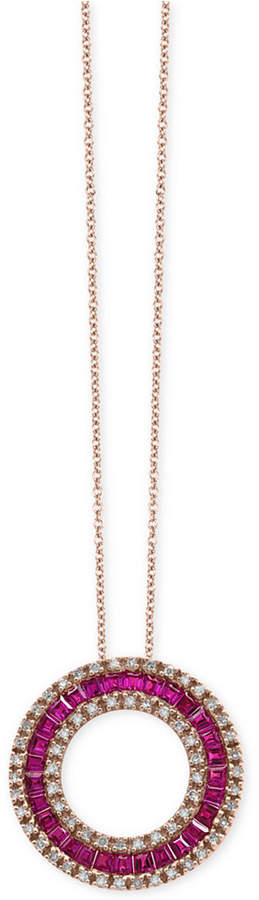 Effy Amore by Ruby (1-5/8 ct. t.w.) and Diamond (1/3 ct. t.w.) Circle Pendant Necklace in 14k Rose Gold, Created for Macy's