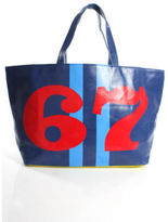 Lisa Perry NEW Blue Red Coated Canvas 67 Print Tote Handbag $195