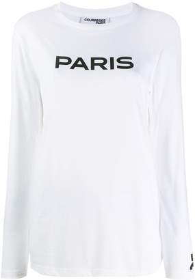 Courreges Word-Print Long Sleeved T-Shirt