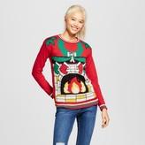 Xhilaration Women's Light-Up Fireplace Sweater Juniors') Red