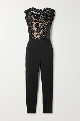 MICHAEL Michael Kors Georgette-trimmed Sequined Crocheted Lace And Crepe Jumpsuit - Black