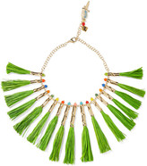 Rosantica Aloha Gold-tone, Raffia And Quartz Necklace - Green