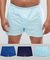 Asos PLUS Woven Boxers In Blues 3 Pack