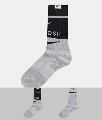 Nike Swoosh 2 pack socks in gray