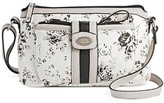 Bolo Women's Faux Leather Crossbody Handbag with Floral Design and Zip Closure - White