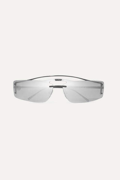 Prada Square-frame Metal Mirrored Sunglasses - Silver