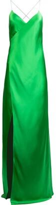 Mason by Michelle Mason Cross-Strap Silk Wrap Gown