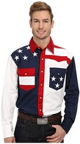 Roper Pieced Stars and Stripes Patriotic (Blue) Men's Long Sleeve Button Up
