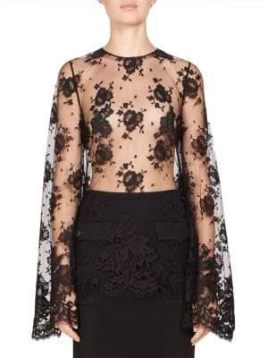 Givenchy Lace Bell-Sleeve Top