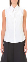 DELPOZO Flower brooch sleeveless cotton shirt