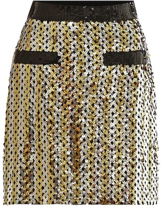 MSGM Checked sequined skirt