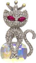Krustallos Swarovski Crystal Brooch Cat Princess Design (Black Diamond)