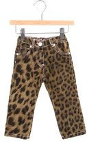 Roberto Cavalli Girls' Leopard Print Floral-Adorned Pants w/ Tags