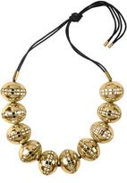 Josie Natori Gold Brass Cage Round Necklace