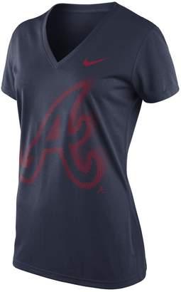 Nike Women's Navy Atlanta Braves Legend Logo V-Neck T-Shirt