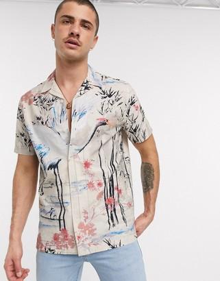 Topman short sleeve revere shirt with print in stone slub
