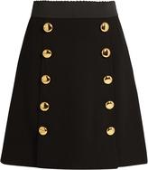 Dolce & Gabbana Button-front wool-blend crepe skirt