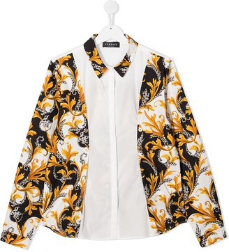 Versace Panelled Baroque Print Shirt