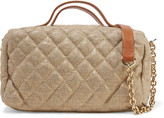 RED Valentino Leather-trimmed quilted metallic canvas shoulder bag