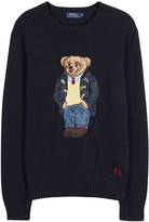 Polo Ralph Lauren Navy Bear-intarsia Cotton Blend Jumper