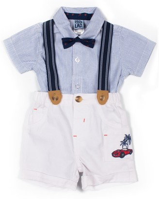 Baby Boy Little Lad 4 Piece Striped Palm Tee Suspender Shorts Set