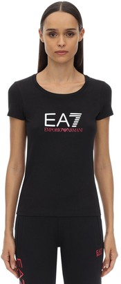 Emporio Armani Ea7 Train Logo Stretch Cotton Jersey T-shirt