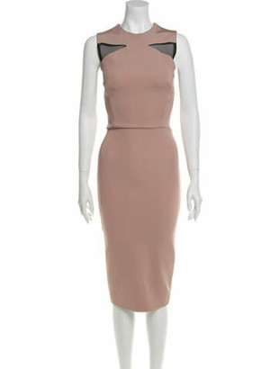 Victoria Beckham Crew Neck Midi Length Dress Pink