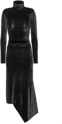 Vetements Asymmetric velvet midi dress