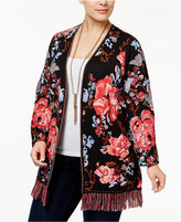 INC International Concepts Plus Size Cotton Floral-Print Cardigan, Only at Macy's