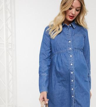 ASOS DESIGN Maternity denim shirt dress in blue