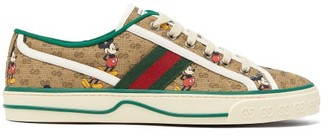 Gucci Mickey Mouse Canvas Trainers - Brown Multi